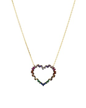 "AQUA - Heart Pendant Necklace in Gold-Plated Sterling Silver or Sterling Silver, 16"" - 100% Exclusive"