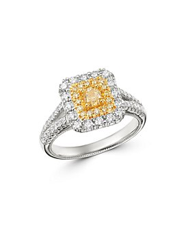 Bloomingdale's - Cushion-Cut Yellow & White Diamond Ring in 18K Yellow & White Gold - 100% Exclusive