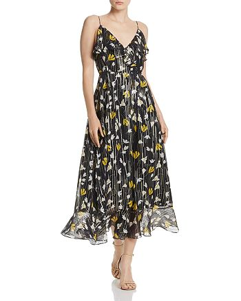 Joie - Kenny Silk Blend Floral Metallic Wrap Dress