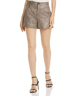 Joie - Abreal Snakeskin-Print Leather Shorts