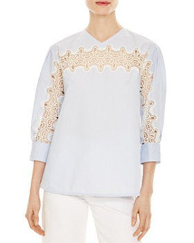 Sandro - Pavel Lace-Detail Poplin Top