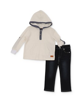 7 For All Mankind - Boys' Hooded Henley Tee & Jeans Set - Little Kid