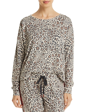 Pj Salvage Wild Heart Leopard Print French Terry Top-Women