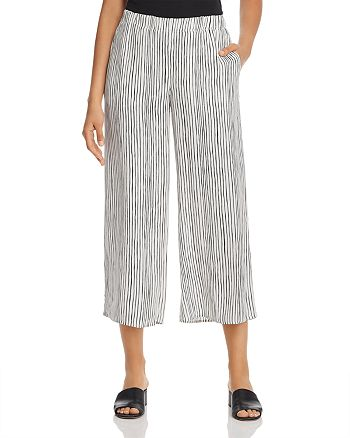 Eileen Fisher - Striped Cropped Silk Pants