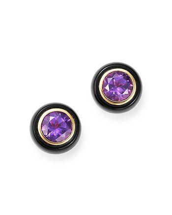 Bloomingdale's - Amethyst & Black Onyx Bezel Stud Earrings in 14K Yellow Gold - 100% Exclusive