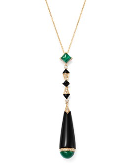 """Bloomingdale's - Black Onyx, Malachite & Diamond Pendant Necklace in 18K Yellow Gold, 18"""" - 100% Exclusive"""