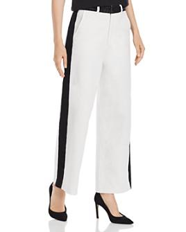 FRAME - Ali Color-Block Wide Crop Jeans in Off White Multi