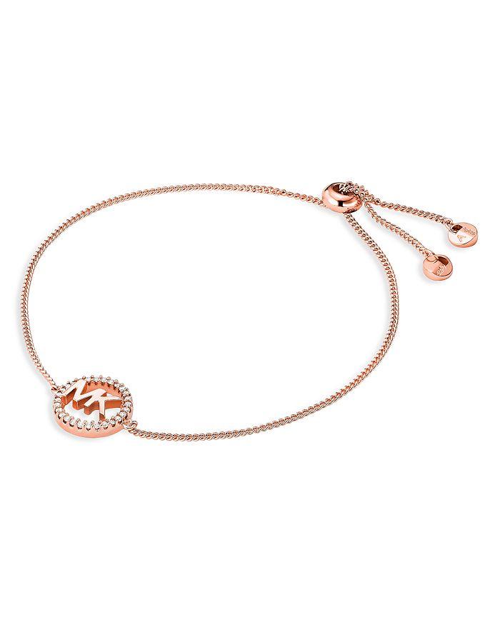 Michael Kors - Pavé Logo Slider Bracelet in 14K Gold-Plated Sterling Silver, 14k Rose Gold-Plated Sterling Silver or Sterling Silver