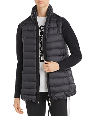 Moncler Quilted Down & Knit Long Cardigan