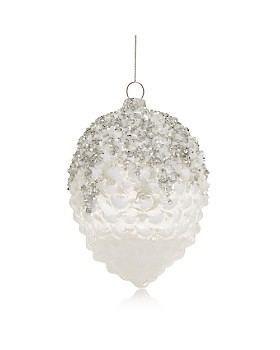 Bloomingdale's - Snowy Pinecone Glass Ornament - 100% Exclusive