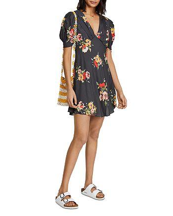 Free People - Neon Garden Puff-Sleeve Mini Dress