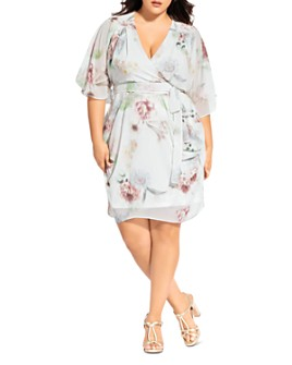 City Chic Plus - Day Dream Floral-Print Faux-Wrap Dress