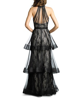 Basix - Lace & Organza Tiered Halter Gown