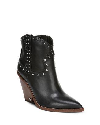 Women's Iris Studded Leather Block Heel Booties by Sam Edelman