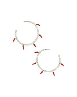 BAUBLEBAR - Solita Keshi Pearl & Hot Pepper Charm Hoop Earrings
