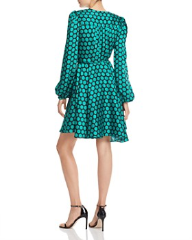 MILLY - Siena Dot Print Twill Wrap Dress