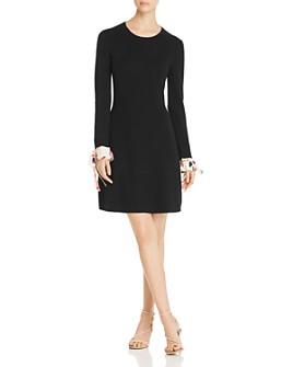 Tory Burch - Contrast-Cuff Merino Sweater Dress