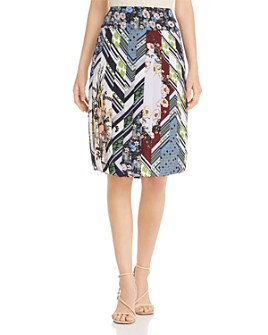 Tory Burch - Printed Silk Pleated Skirt