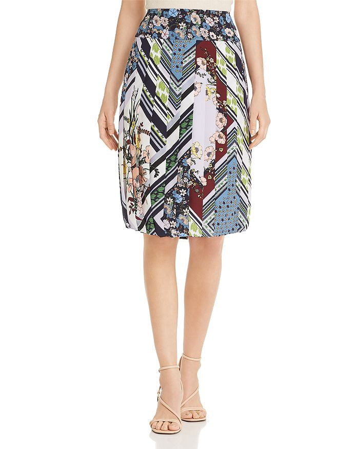 Tory Burch - Printed Silk Pleated Skirt
