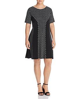 MICHAEL Michael Kors Plus - Paneled Mod Dot Fit-and-Flare Dress