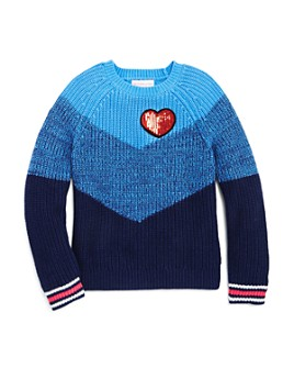 Design History - Girls' Color-Block Heart Sweater - Little Kid