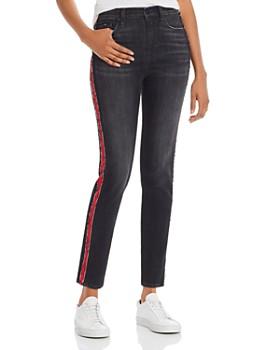 Hudson - Barbara Track Stripe Skinny Jeans in After Dark