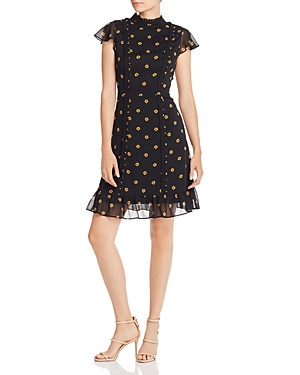 Adrianna Papell Ruffled Neck Floral Dress