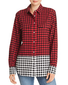 rag & bone - Birdie Color-Block Gingham Shirt