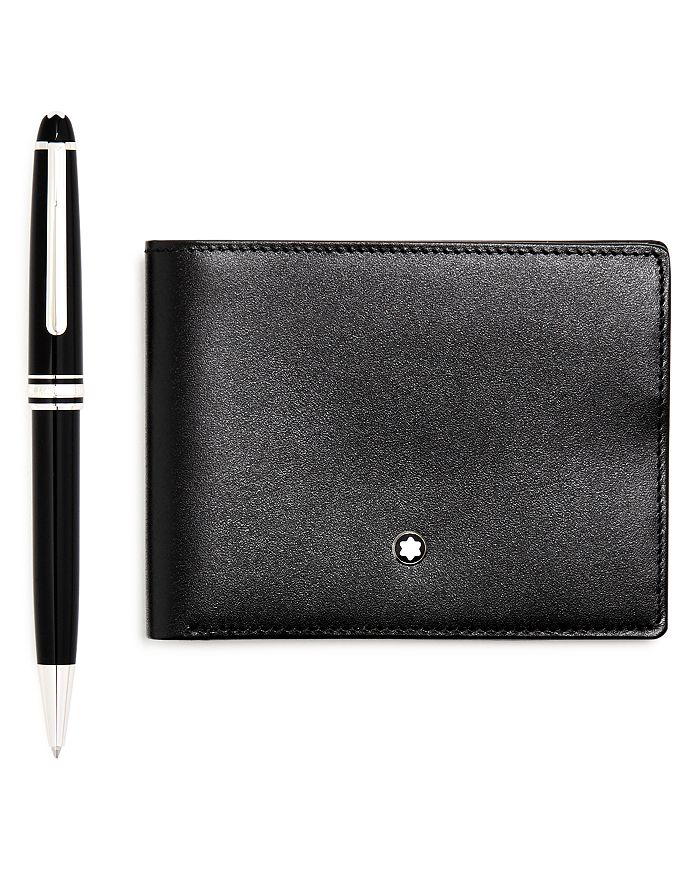 Montblanc - Meisterstück Platinum-Plated Classique Ballpoint Pen & Leather Bi-Fold Wallet
