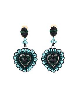 Oscar de la Renta - Beaded Heart Clip-On Drop Earrings