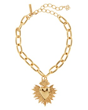 Oscar de la Renta - Heart & Starburst Pendant Necklace, 14.5""