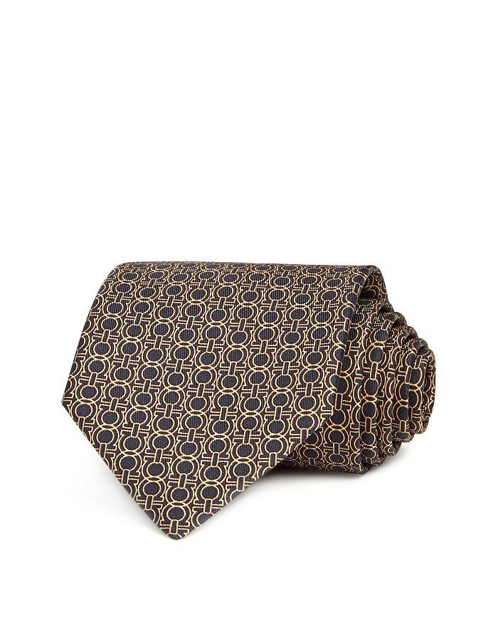 Salvatore Ferragamo Icona Gancini Classic Silk Tie In Black