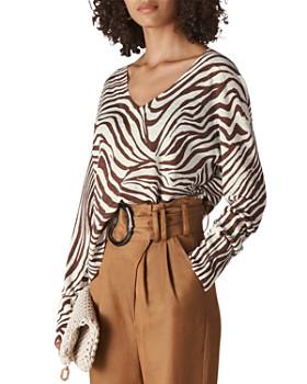 Whistles - Zebra-Print Linen Top