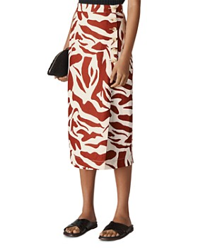 Whistles - Graphic Zebra-Printed Linen Skirt