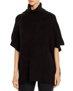 AQUA - Textured Turtleneck Poncho - 100% Exclusive