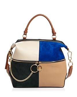 See by Chloé - Emy Large Color-Block Leather & Suede Shoulder Bag