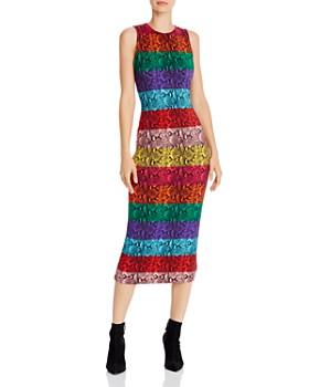 Alice and Olivia - Delora Rainbow Snake Print Midi Dress