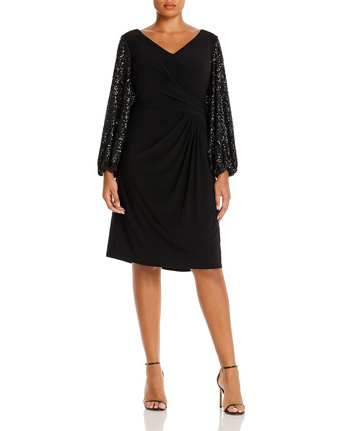Adrianna Papell Plus - Draped Sequin-Sleeve Dress