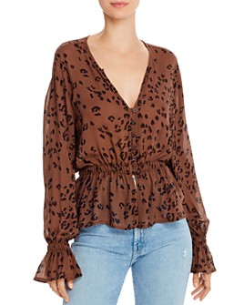 Bella Dahl - Animal Print Peplum Blouse