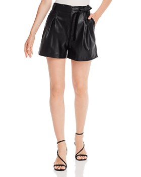 Lucy Paris - Pleated Faux Leather Shorts - 100% Exclusive