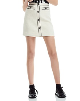 Maje - Joppy Decorative-Button Tweed Mini Skirt