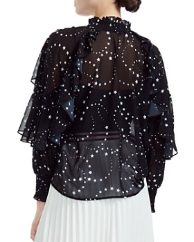 Maje - Letro Sheer Star-Print Blouse