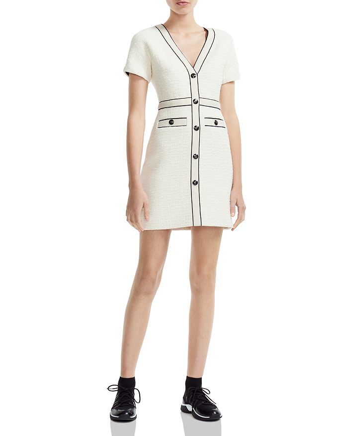 Maje - Roppy Decorative-Button Tweed Mini Dress