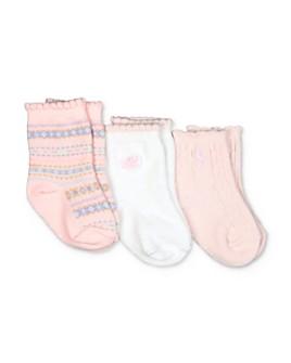 Ralph Lauren - Girls' Fair Isle Scalloped Socks, 3 Pack - Baby