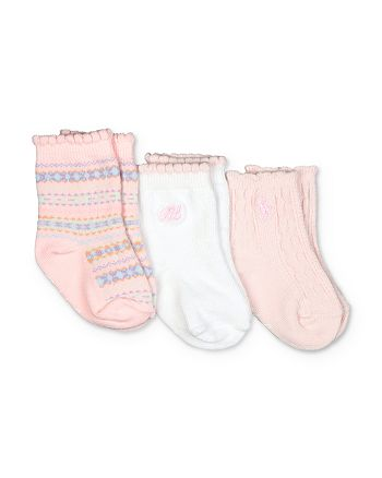 Ralph Lauren - Girls' Fair Isle Scalloped Socks, 3 Pack - Baby
