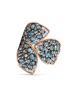 Pasquale Bruni - 18K Rose Gold Giardini Segreti London Blue Topaz & Diamond Statement Ring