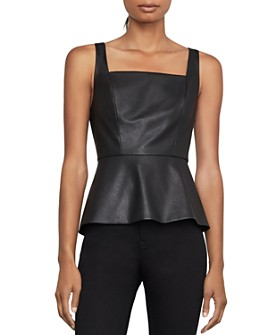 BCBGMAXAZRIA - Faux Leather & Ponte Peplum Top