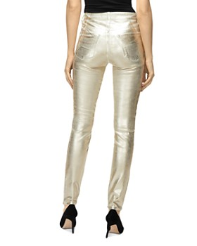 J Brand - Maria Metallic High Rise Skinny Jeans in Gold Messaline
