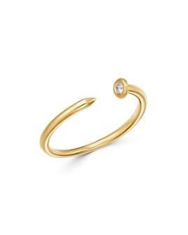 Zoe Lev - 14K Yellow Gold Diamond Nail Cuff Ring