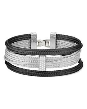 ALOR - Noir Pavé Diamond-Station Cable Bracelet